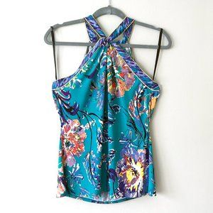 Colorful Floral Twist Halter Top Contrast Piping
